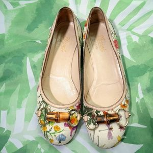 Gucci Floral Canvas Ballet Slippers